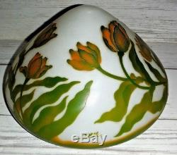 12 3/4 Acid Etched Flowers Cameo Glass Galle Table Lamp Shade Only