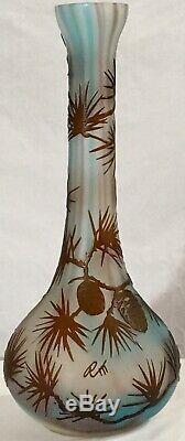 14.5 Vintage Galle-style Best Original Acid Etched Cameo Signed Pine Glass Vase