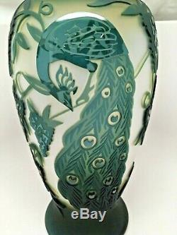 15 inch Kelsey Murphy Peacock Vase Pilgrim Cameo Glass Fenton