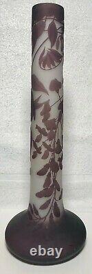 16 SIGNED GALLE Art Nouveau Cameo Glass Vase c. 1900 - Authenticated