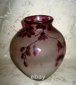 1800's Signed Legras Cameo Art Glass Vase in a Floral Design, 8 3/8 in Height