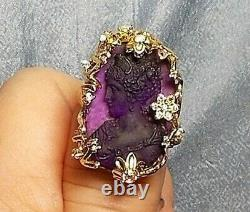 1910 Amethyst Cameo RING Goddess Glass Beauty Head of Curls, Downton Abbey Crown