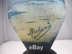 1920's 2 Color French Cameo Glass Signed Robert