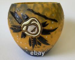 1920's French Art Deco Andre Delatte Nancy Cameo Glass Brilliant 4 x 4 vase