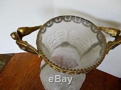 1930's TIFFIN Art Glass 14 Vase SATIN POPPY Hand Painted CAMEO Gold Ormolu Trim