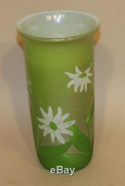 1980 Orient & Flume Sillars Green Cameo Glass Acid Etched Vase with Flowers & Bees