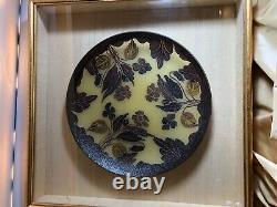 1980's Estate DAUM NANCY RARE Cameo Art Nouveau Glass Plaque/Bowl 11