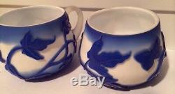 1998 Kelsey Murphy Pilgrim Cameo Glass Creamer Sugar Bowl Butterflies Daffodils
