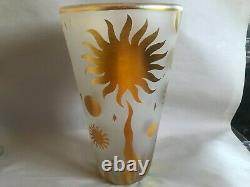 1998 Steven Correia Large Art Glass Vase Cosmos Moon Stars Cameo Carved Signed