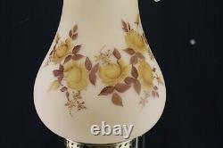 23 Vintage Fenton Glass Brass Student/Table Lamp Cameo Chocolate Roses F Burton