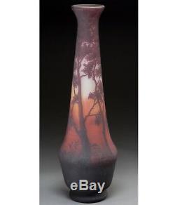 26 Inch Monumental Daum Nancy Cameo Acid Etched Red Landscape Vase, 1900