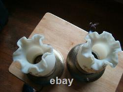 2 Fenton Hand Painted Roses on Cameo Satin Electric Lamps Signed