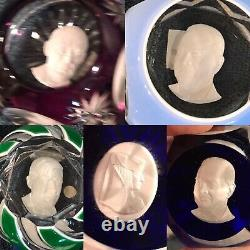5 Unknown Baccarat France Crystal Sulfide Cameo Franklin Mint Paperweight Lot