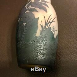 6 French Cameo Art Glass Vase Floral Overlay Signed Arsall