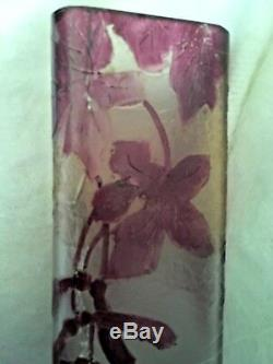 7.5 x 2-3/8 Signed Legras Cameo Glass Vase c1920 French Art Nouveau Red Leaves