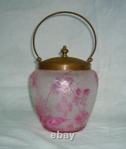 ANTIQUE 1890s BACCARAT CRANBERRY CARVED CAMEO GLASS BISCUIT BARREL JAR
