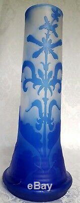 ANTIQUE 1900s EMILE GALLE' ART NOUVEAU ART GLASS CAMEO VASE SIGNED 13 3/4
