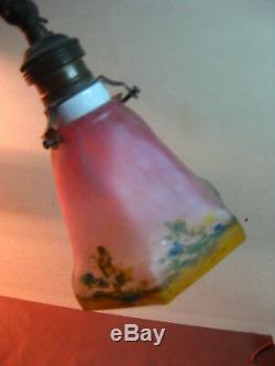 ANTIQUE ART DECO CAMEO ART GLASS PASTE PATE DE VERRE DESK TABLE LIGHT LAMP 1930s