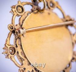 ANTIQUE c1910 ART NOUVEAU 18K GOLD & PEARL HAND PAINTED BROOCH PIN PENDANT 14g