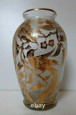 ART DECO ACID ETCHED CAMEO FRENCH GLASS VASE ANIMALIER BIRDS 1930s SIGNED ADAT