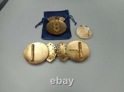ART DECO LOT LG signed buckle clip set Amazing silver lg carved cameo ring nice