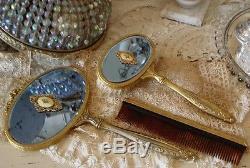 ART DECO Rare Blue Glass Dresser Set withCameos ANTIQUE