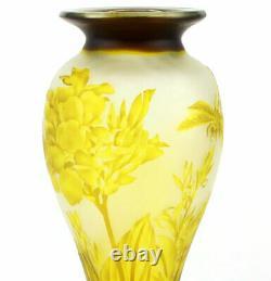 ART NOUVEAU DROGONFLY CAMEO GLASS VASE GALLE DESIGN'LIBELLULA' GLAS VASE gelb