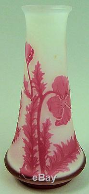 A Fine Art Nouveau French Cameo Art Glass Vase By De Vez'poppy Design' C. 1910