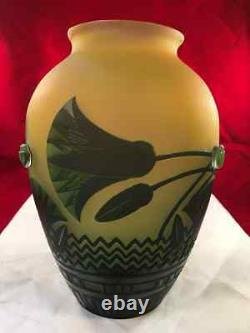 A Fine Art Nouveau Style Cameo Glass Hand-blown European Vase Signed Galle