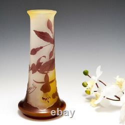 A Galle Four Colour Cameo Fuchia Vase c1905