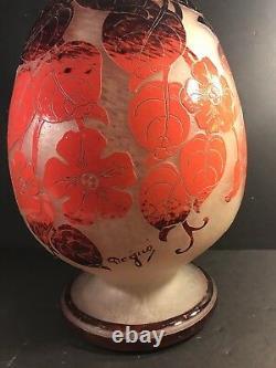 A Large Art Deco Acid Etched Cameo Glass Vase, Signed Degue, France Circa 1930