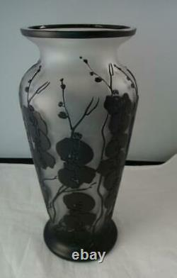 Ajka Hungary Large Cameo Cased Glass Vase Black Flowers & Crystal 11 7/8H 5D
