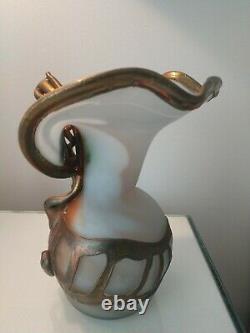 Anca Podaru Ama Copper Overlay Cameo Art Glass Nouveau Vessel Vase 8