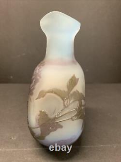 Antique 19th C. Emile Galle French Cameo Glass Pilgrim Flask Vase Blue Purple