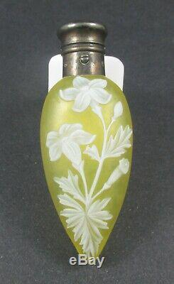 Antique 19th C Webb Cameo Art Glass Scent Bottle Perfume Gorham Sterling Cap