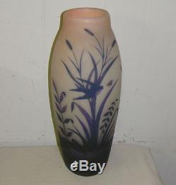 Antique Arsall Signed Cameo Art Glass Vase Floral Design Fancy