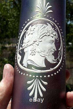 Antique Art Glass Vase Enameled Cameo Iridescent Baccarat Webb Loetz Era
