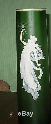 Antique Art Glass Vase Lady Cameo Enameled Art Nouveau Webb John Northwood