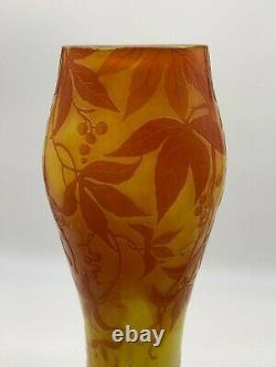 Antique Art Nouveau Michel De Nancy French Cameo Glass Large Vase Signed
