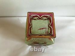 Antique Baccarat Stunning Cameo Acid Etch Glass Vase Green To Pink Iris Orchid