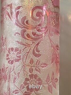 Antique Baccarat / Val St. Lambert Vase Red Cameo Glass Acid Cut