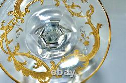 Antique Baccarat or St Louis Cut Crystal Gold Encrusted Cameo Air Twist Stem
