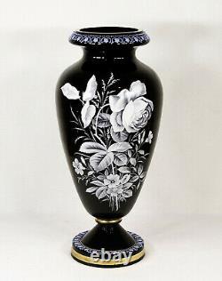 Antique Bohemian Cameo Black & White Art Glass Flower Vase 15 (40 cm)