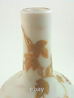 Antique Bohemian Harrach Enameled & Red Lava Flame Pseudo Cameo Art Glass Vase