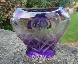 Antique Bohemian Moser Art Nouveau Intaglio Cameo Glass Vase Iris Model Dona