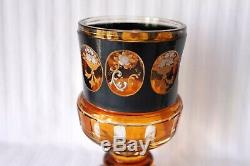 Antique Bohemian Moser Enamel Gold Cameo Panels Goblet 19th century
