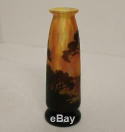 Antique Cameo Art Glass Daum Nancy Vase with Sail Boats