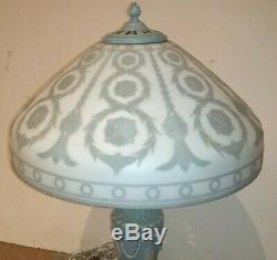 Antique Cameo Art Glass Lamp Shade & Base Perfect For Wedgewood Collector