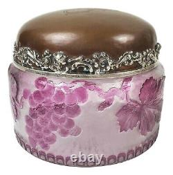 Antique Cameo Glass J. E. Caldwell Lidded Jar, Hammered Copper & Sterling Silver