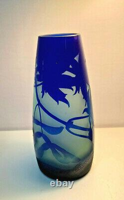 Antique Cameo Glass Vase by D' Argental Branches, Leaves, and Pods in Blues